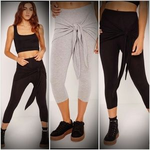 Missguided crop tie front leggings nwt soft gray M